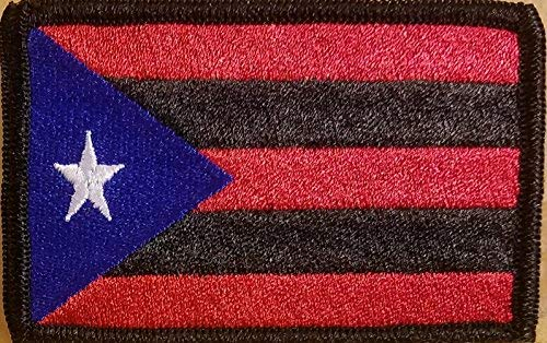 Puerto RICO Flag Embroidered Patch with Hook & Loop Tactical Morale Shoulder Boricua Patch Black Border #1