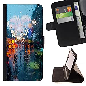 DEVIL CASE - FOR Samsung Galaxy S5 V SM-G900 - Rainy Street Lights Reflection City Somber Spring - Style PU Leather Case Wallet Flip Stand Flap Closure Cover