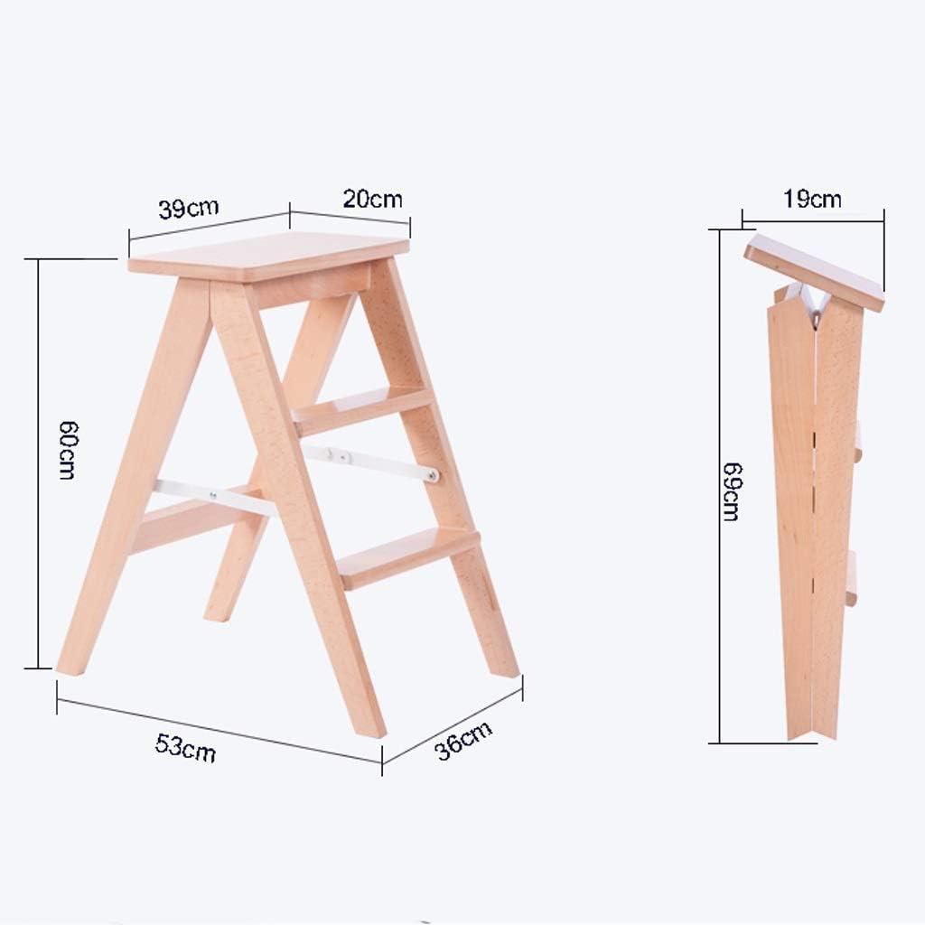 GBX Home Tragbarer Trittleiter Hocker Massivholz Home Kreative K/üche Klappleiter Aufstiegsfunktion Sitzbank H/öhe 60Cm,Braun
