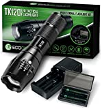 Complete LED Tactical Flashlight Kit - EcoGear FX TK120: Handheld Light with 5 Light Modes, Water...
