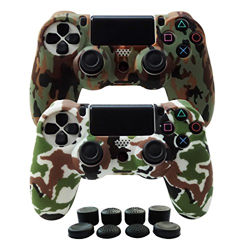 (Hikfly Silicone Gel Controller Cover Skin Protector Compatible for Sony Playstation 4 PS4/PS4 Slim/PS4 Pro Controller (2X Controller Cover with 8 x FPS Pro Thumb Grip Caps)(Brown,White))