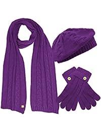 Cable Knit Beret Hat Scarf & Glove Matching 3 Piece Set Set