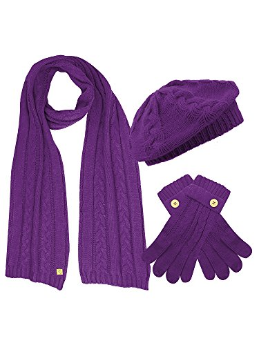 Purple Cable Knit Beret Hat Scarf & Glove Matching 3 Piece Set Set