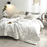 AMOR & AMORE White Marble Comforter Sets,3Pcs Gray Grey Black and White Pattern Printed,Super Soft Microfiber/Cotton Modern Bedding Sets (Cotton, Twin)