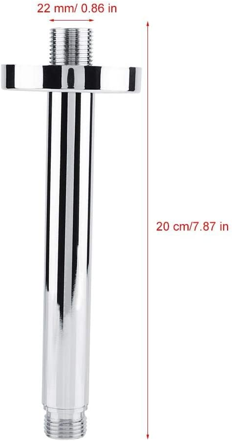 TOPINCN 5.9 Inch Stainless Steel Shower Extension Tube Round Top Shower Pipe Handheld Shower Arm Tube Bathroom Accessory
