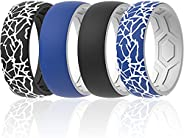 ThunderFit Silicone Wedding Rings Men, 2 Layer Top Design - 8.5mm Width 2.5mm Thick