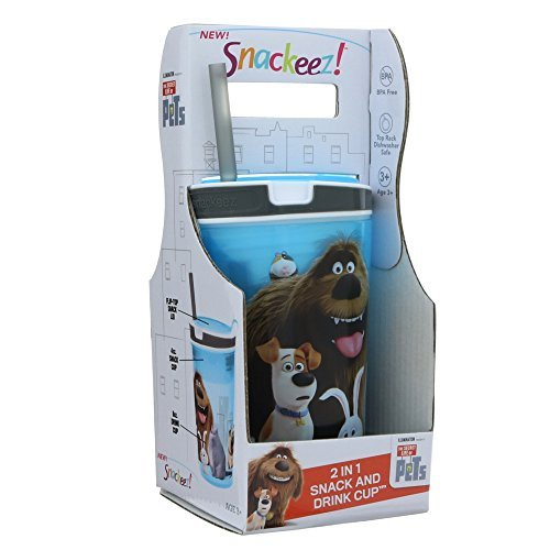 (Snackeez H-SNAKZJRPT-R Jr The Secret Life of Pets 2-in-1 Snack and Drink Cup (Blue with Grey), 6.1 x 3.5 x 3.5 inches)