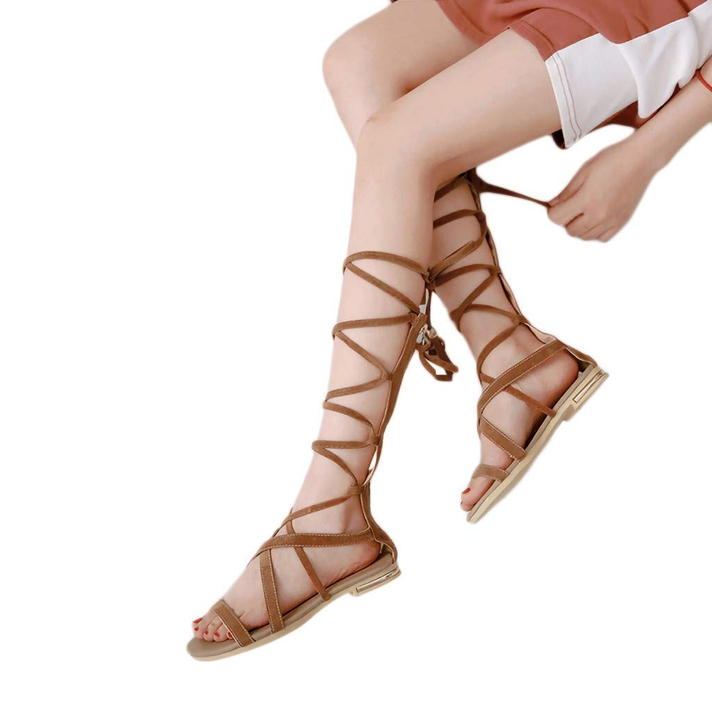 Sandals for Women Bandage Open Toe Slippers Anti-Slip Cross-Tied Flats Bohemian Style Sandals(42, Brown)