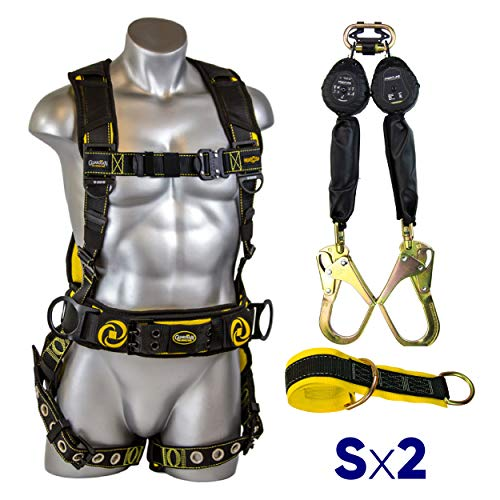 Guardian Fall Protection 21029 Cyclone Construction Harness + Twin Leg Web 6ft SRL with Steel Rebar Hook Ends + Web 3 ft Anchor Sling with 2 D-rings & 3
