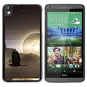 Águilas volando a través de los rayos de sol - Metal de aluminio y de plástico duro Caja del teléfono - Negro - HTC DESIRE 816