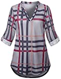 SeSe Code 3/4 Sleeve Blouse Women Work Plaid X Large Shirt Henleys Contemporary Classy Flattering Checked Split Neck Comfort Drape Maternity Tunic Black and Gray XL