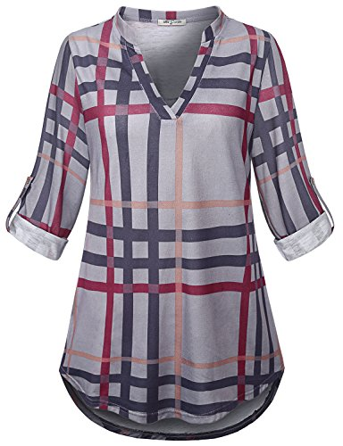 SeSe Code Blouse Tunic Women Tops 3/4 Sleeve Casual Loose Fit Shirt Plaid Home Everyday Awesome Collared Ruched Jersey Color Block Popover Blusas Black and Gray XXL