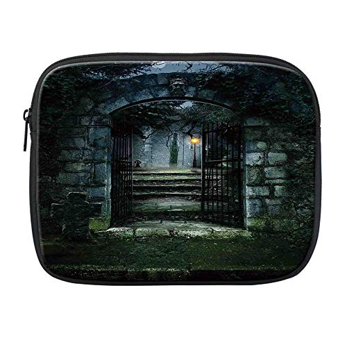 Gothic Decor Compatible with Nice iPad Bag,Illustration of The Gate of a Dark Old Haunted House Cemetary Dead Myst Fiction Art Print for Office,One Size