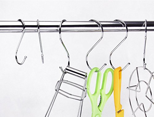 Tsuen 20 Pack S Shaped Hooks Hangers, Heavy Duty Metal Hanging Hooks Hangers Clothes Storage Rack for Kitchen, Bathroom, Bedroom, Work Shop, Garden and Office, 3.3 inches by Tsuen (Image #7)