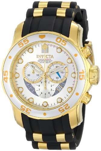 Invicta Men's 6985 Pro Diver Collection Chronograph Silver Dial Black Polyurethane (Silver Dial Polyurethane)
