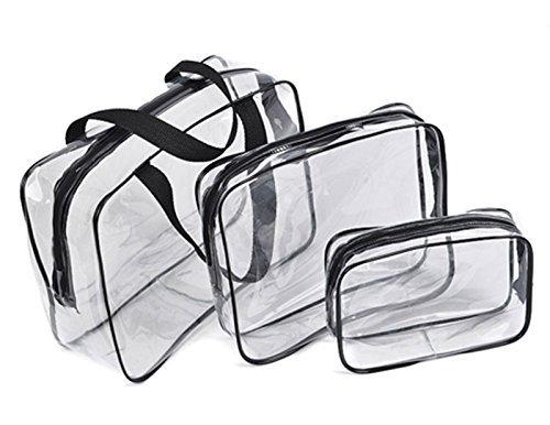 FORTE 3 Pezzi Cosmetici Make Up Da toeletta PVC trasparente Necessaire Da Viaggio Borsetta Bustina Set Kit Dabhees