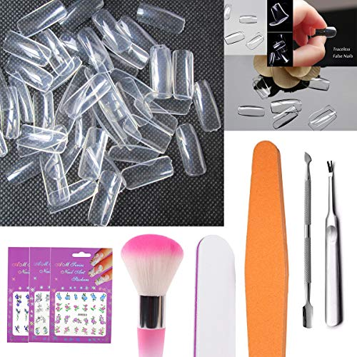 Nail Art Tips 500pcs Clear Full Cover Acrylic False Nails 10 Size, 180/100 Sanding File Sponge Buffing Cuticle Pusher Remover Cleaner Dust Brush Nail Sticker Manicure Set (ADD-SET5A)