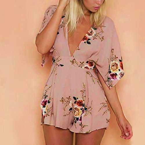 Fheaven Women Floral Printing Backless Short Sleeve V Neck Rompers Jumpsuit Playsuit (XL, khaki)