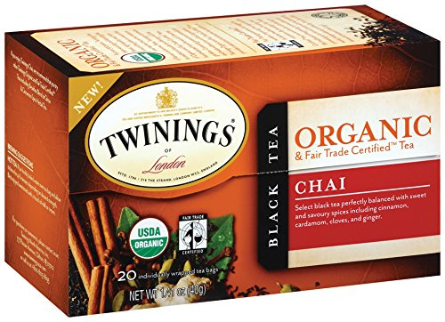 Twinings Organic Tea, Chai, 20 Count Bagged Tea (6 (Hot Stuff Hand Warmers)