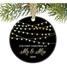 """First Christmas as Mr & Mrs Ornament 2018, 1st Married Christmas Ornament, First Married Christmas, 3"""" Flat Circle Porcelain Ornament w Glossy Glaze, Gold Ribbon & Free Gift Box   OR00008 Mellon"""