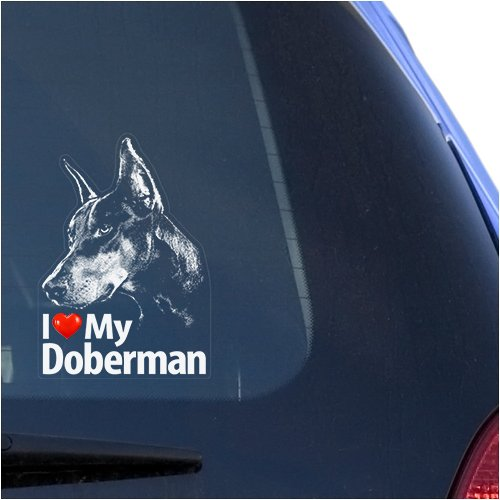I Love My Doberman Clear Vinyl Decal Sticker for Window, Dobermann Pinscher Sign Art Print