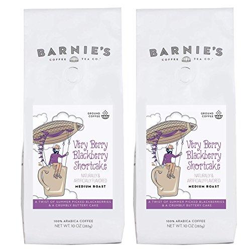 Berry Coffee - Barnie's Very Berry Blackberry Shortcake Ground Coffee | Blackberry Buttery Cake Flavored Coffee | Sugar Free, Nut Free, Gluten Free, Fat Free | Medium Roasted Arabica Coffee Beans | 2-Pack