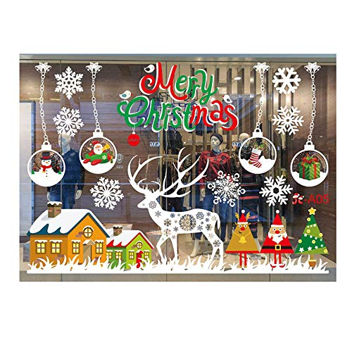 Ximandi Merry Christmas Removable Window Clings Stickers Decorations, Christmas Window Decals Stickers Colorful Ornaments Window Decorations for Xmas Window Decor Supply (E)