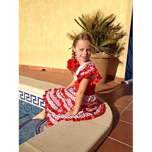 5a9d2faa2 La Senorita Spanish Flamenco Dress Princess Fancy Dress Costume Girls/Kids  Red White