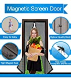 Magnetic Screen Door Mesh Curtain and Full Frame Velcro-Magnet Door Curtain,Fit Doors Up To 34''x82'' Max,Magic Magnetic Closure-Keep Mosquito Fly Bugs Out