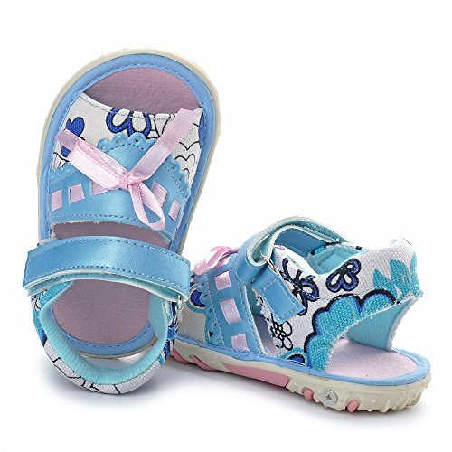 Sandalias antideslizantes de la suela de goma del bebé con las flores Azul