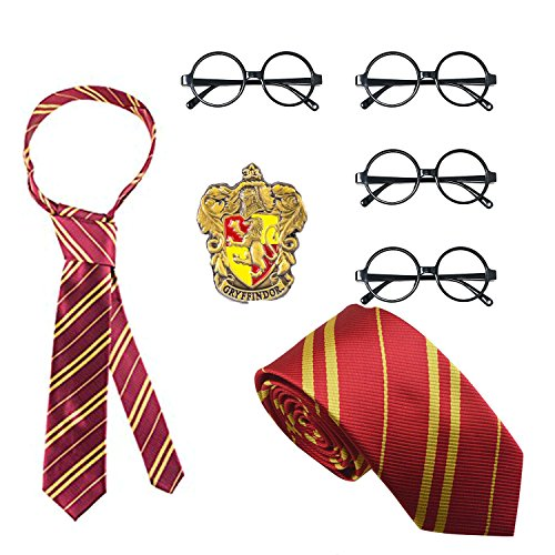 Delphinus Costume Accessories, Striped Tie Polyester Silk Tie with Novelty Glasses & College Badge College Accessory for Cosplay, 7 -
