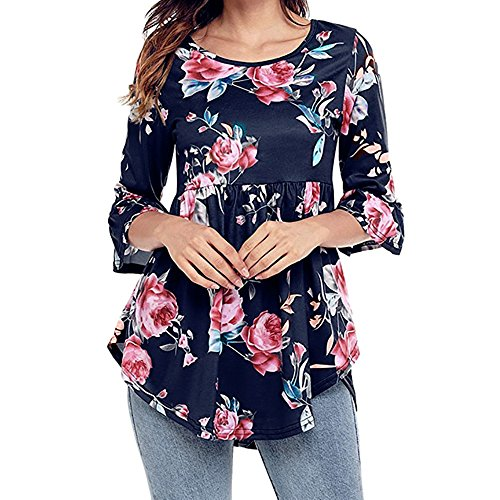 ▶HebeTop◄ Womens Long Sleeve Lightweight Print Splicing Irregular Tunic Shirts Blue