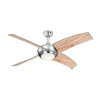 Perfekt AireRyder Deckenventilator Borealis Mit Beleuchtung Und Fernbedienung,  Gehäuse Satin Nickel, Flügelfarbe Kiefer, 122