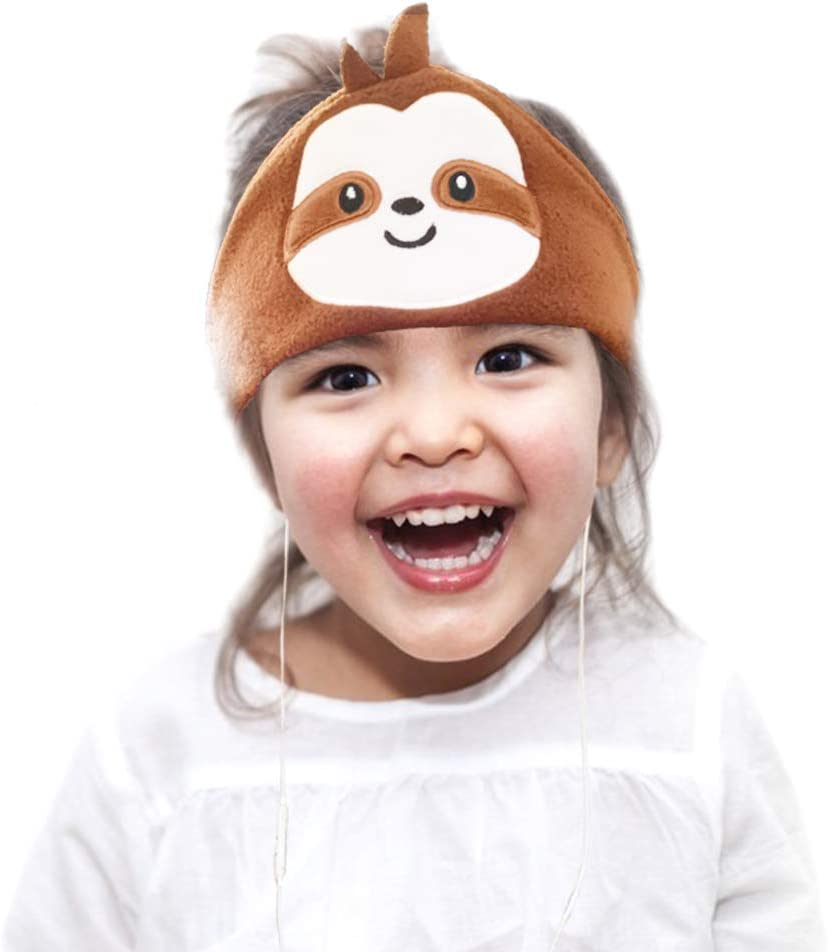 CHOKMAX Kids Headphones, Volume Limiting with Ultra Thin Adjustable Speakers Soft Children Fleece Headband Toddler Headphones for Home and Travel - Brown Sloth