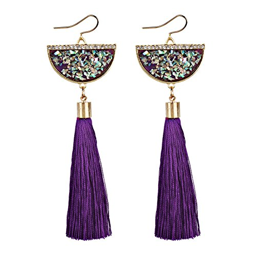 LQZ(TM) Sea Style Long Tassel Rainbow Stone Drop Dangle Earrings for Girls and Women (Violet) ()