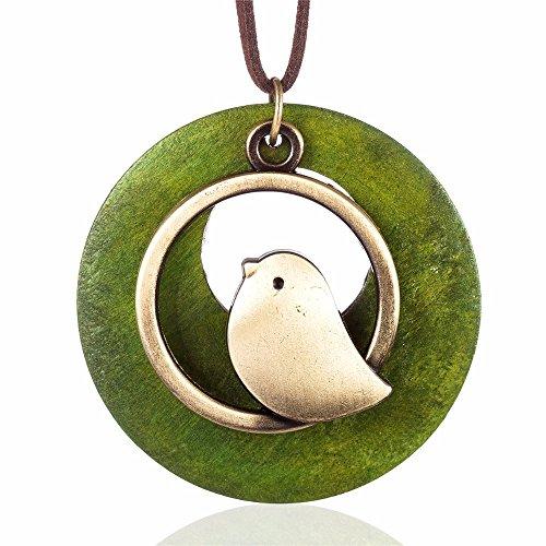 Baby Bird Necklace - QIAONAI Wood Style Round Green Bird Pendant Handmade Nature Jewelry 39