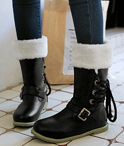 Calf Warm Booties Mid Flat Fur Lace Snow Black Lined Buckled Womens Winter Boots IDIFU Up TUBFBq
