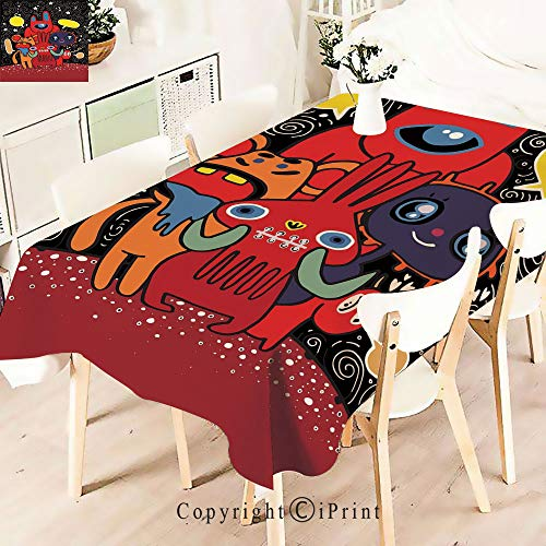 Modern Decor Tablecloth, Theme Funny Characters with Speech Bubbles,Graphic Fusion Artwork, Dining Room Kitchen Rectangular Table Cover,W55 xL71,Multicolor