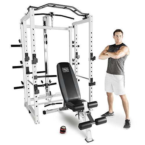 Marcy Pro Deluxe Folding Total Body Home Gym Cage Power Rack System with Bench (Rouge Equipment Fitness)