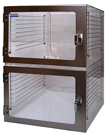 Two-Door Desiccator Cabinet Clear Static Dissipative PVC, 18Wx18Dx24H in. with Gas ports
