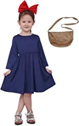 10c5609c916 Miccostumes Kids Delivery Service Witch Cosplay Dress with Brown Bag for  Little Girl