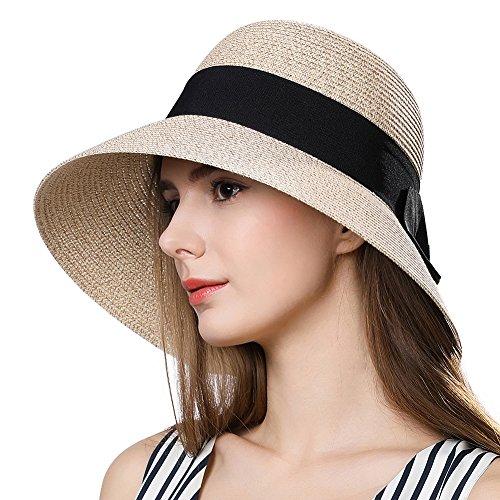 Womens Straw Panama Derby Sun Hat Summer Fedora Beach Wide Brim Cloche Uv Beige (Brim Cloche)