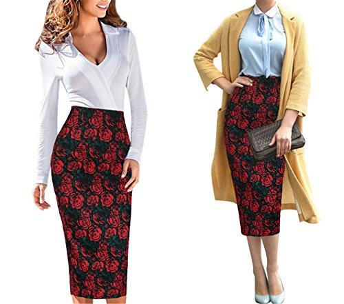 Aimeila Elegant Womens Vintage Retro Flower Floral Printed Pencil Sheath Midi Mid-Calf Skirt 4040 Black Red Green (70s Womens Hairstyles)