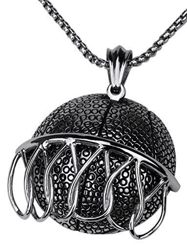 Angel Jewelry Men's Stainless Steel Basketball Necklace ()