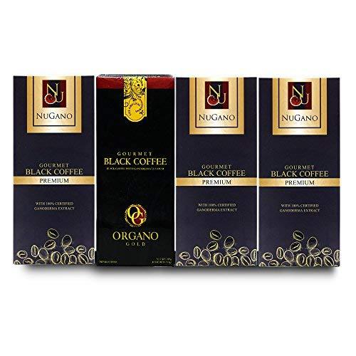 Organo Gold Gourmet Black Coffee 1 box & Nugano Premium Gourmet Classic Black Coffee 3 boxes, 100% Certified Ganoderma Enriched Coffee, By Superiorstore21