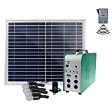 Cowin Solar Lighting System-4 x 3W Lamps, Aluminum Solar Panel, SMF Lead-Acid Battery Solar Power System Home, Remote Control Solar Energy Kit With 100-240V AC Adapter