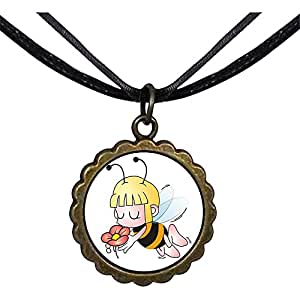 Chicforest Bronze Retro Style Holding Flowers Honeybee Round Flower Pendant
