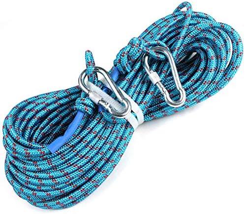 登山ロープ、屋外クライミング安全吊り鎖懸垂下降ロープ補助コード 8mm 10/20/30/40m,Blue,50m