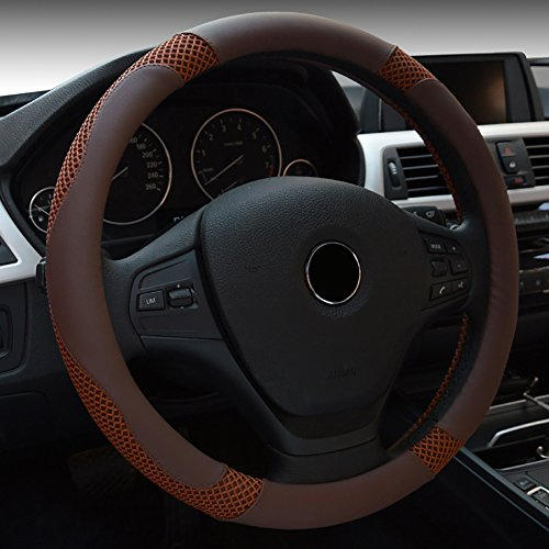 ECLEAR Car Steering Wheel Cover Universal 38cm/15inch - Brushed Leather, Breathable, Soft Padding, Durable, Anti ()
