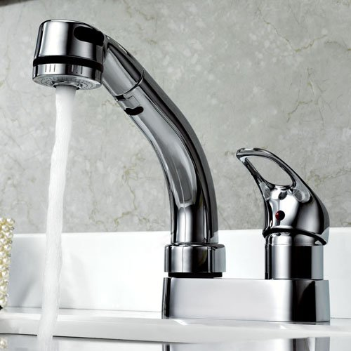 Ouku Deck Mount Centerset Chrome Finish Contemporary Centerset Solid Brass Kitchen Sink Faucet Basin Mixer Taps With Pull Down Sprayer Unique Designer Ceramic Valve Included Plumbing Fixtures